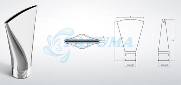 Vòi phun nước xẻ quạt đơn tia làm bằng inox 304