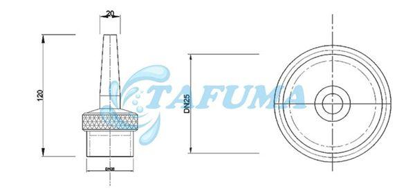 Bản vẽ thiết kế đầu phun nước hình tia