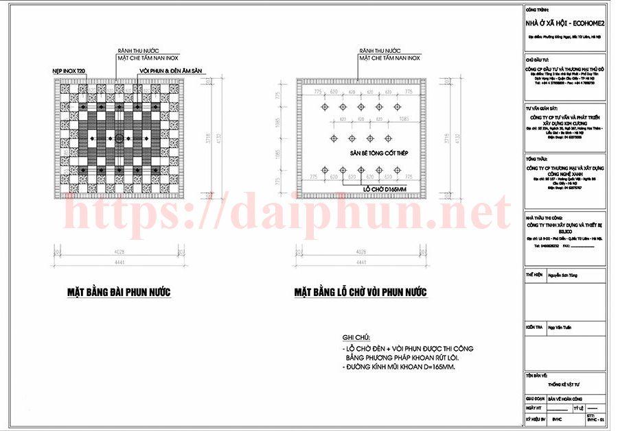 Bản vẽ thiết kế đài phun nước