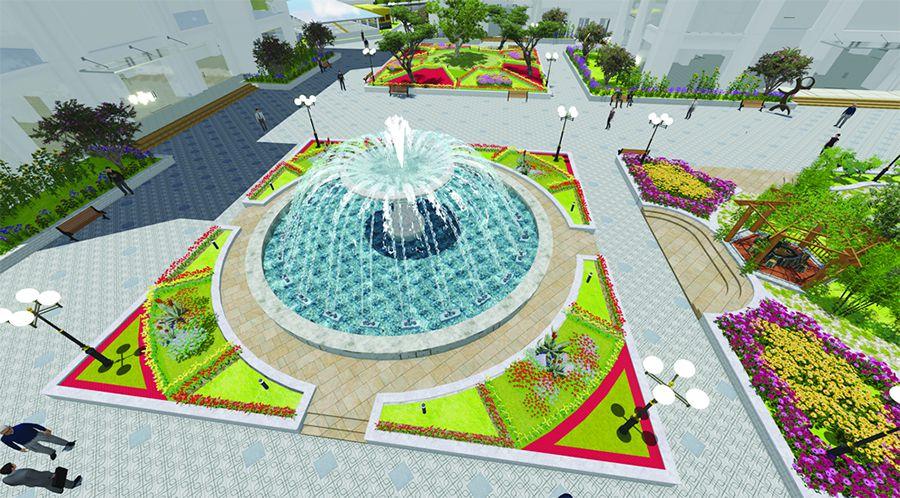 Bản vẽ thiết kế đài phun nước 3Dmax