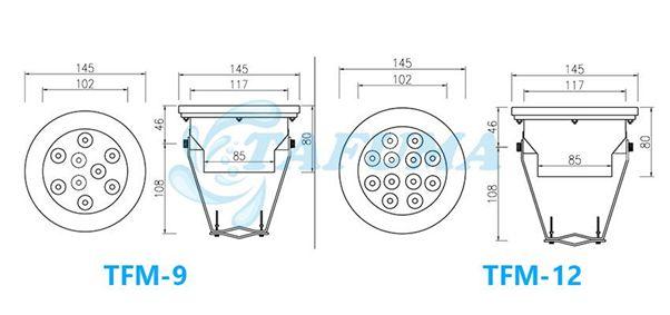 Bản vẽ kích thước đèn led đài phun nước TFM