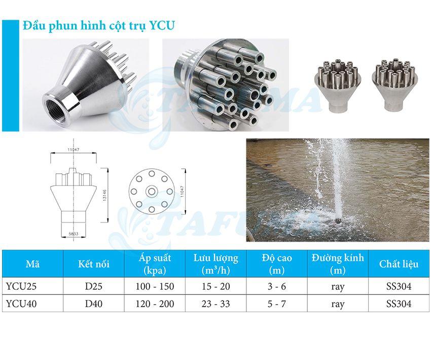 Đầu phun đài phun nước hình trụ cột YCU -
