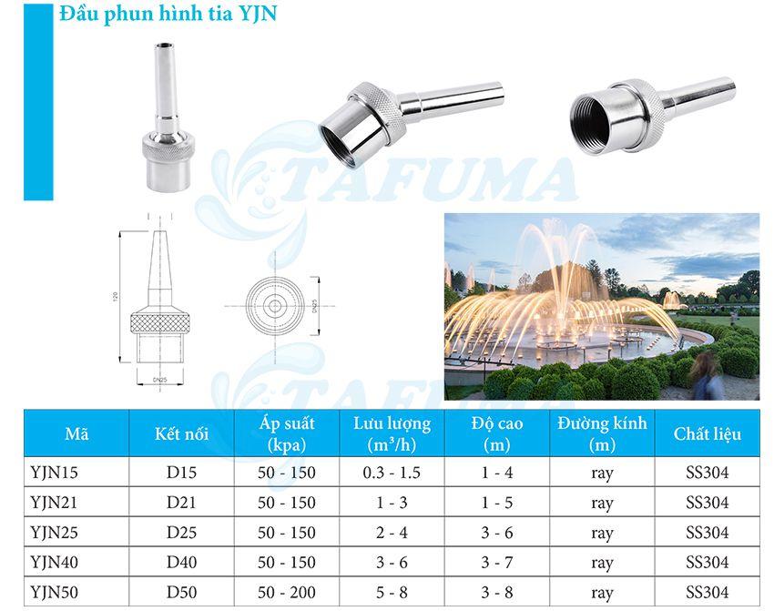 Đầu Phun Nước Dạng Cột Nước Sủi Bọt YJN - Tafuma Việt Nam