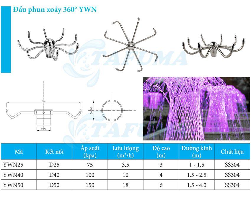 Đầu phun đài phun nước lốc xoáy ywn - Tafuma Việt Nam