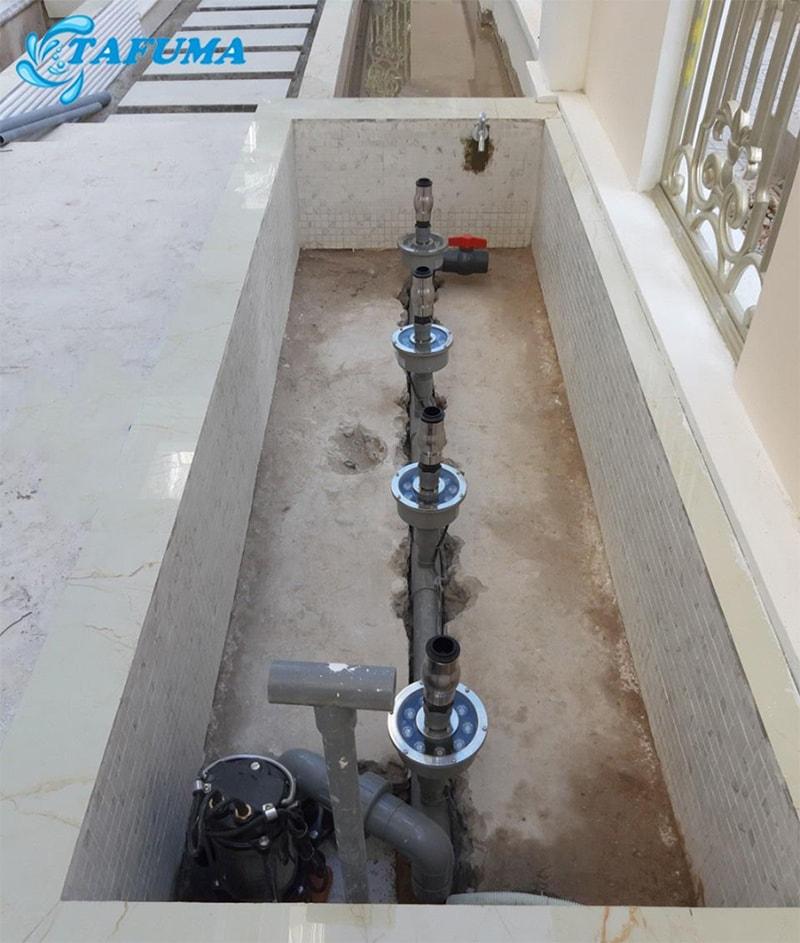 Hệ thống đường ống dẫn nước công trình đài phun anh Mẫn